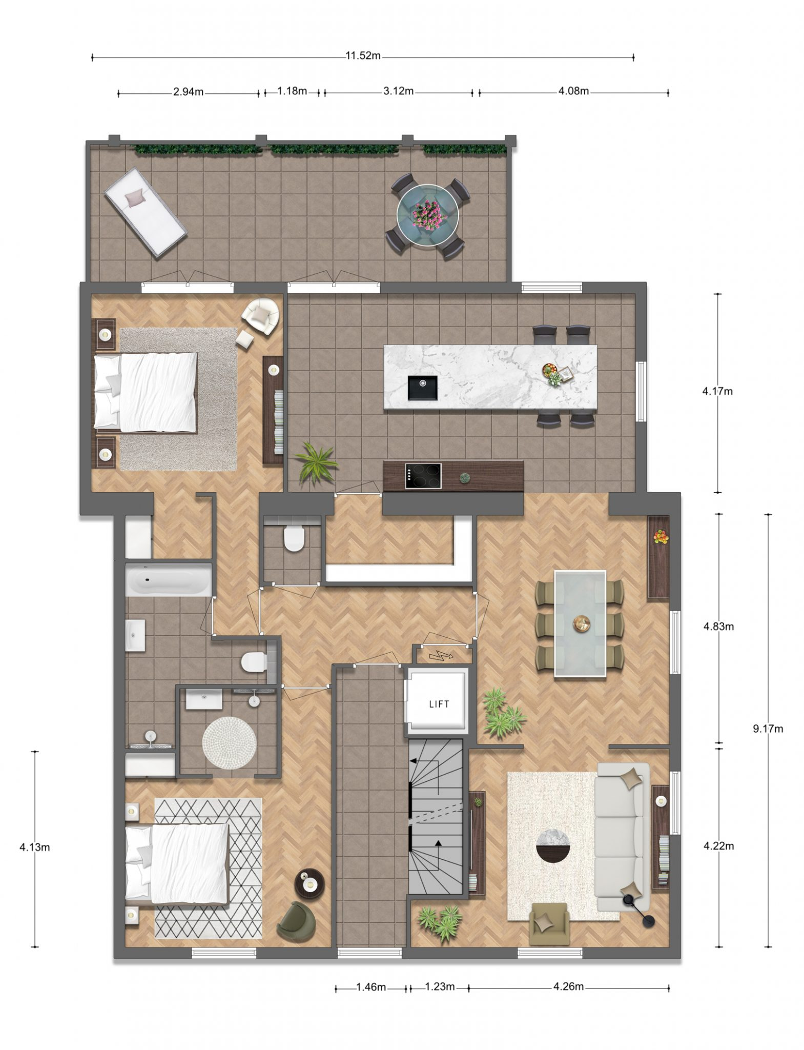 4 Appartement FINAL v2 1 - Impressieplattegrond